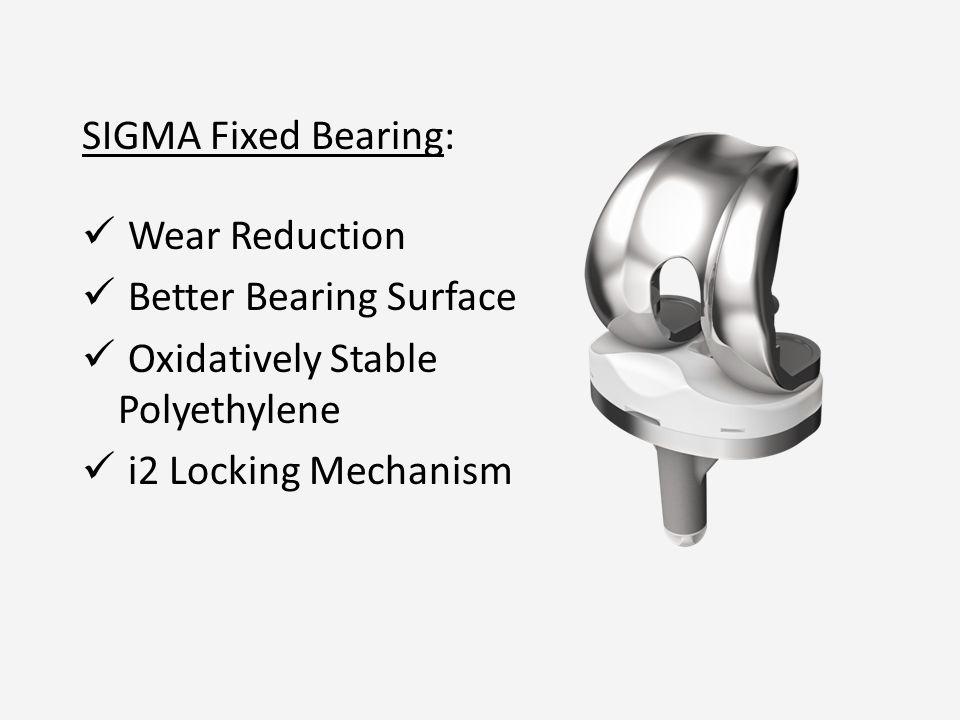 SIGMA Fixed Bearing: Wear Reduction Better Bearing Surface Oxidatively Stable Polyethylene i2 Locking Mechanism