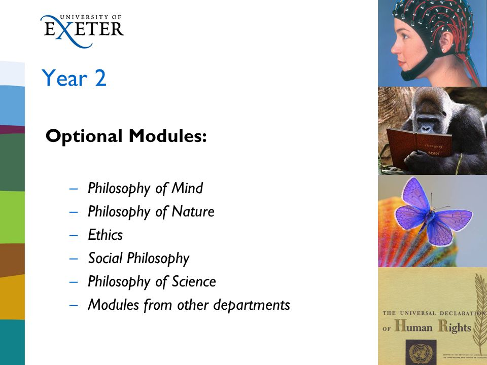 Year 2 Optional Modules: –Philosophy of Mind –Philosophy of Nature –Ethics –Social Philosophy –Philosophy of Science –Modules from other departments