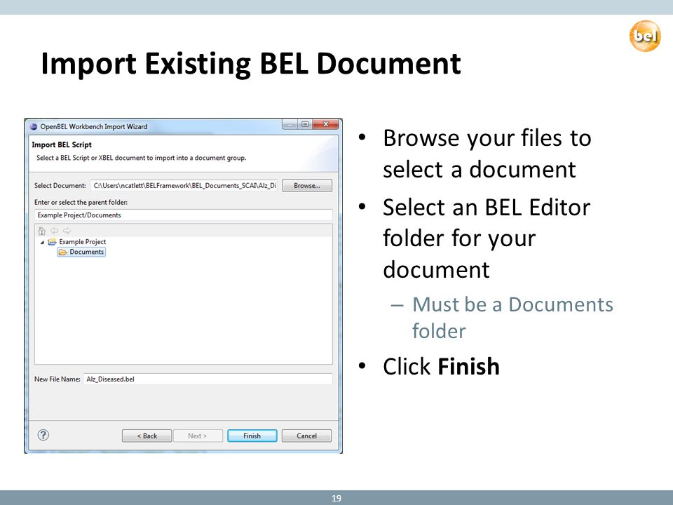 Import Existing BEL Document Browse your files to select a document Select an BEL Editor folder for your document – Must be a Documents folder Click Finish 19