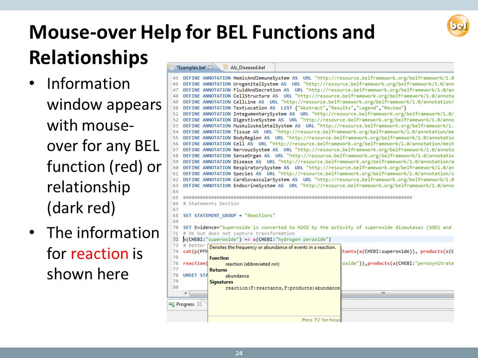 Mouse-over Help for BEL Functions and Relationships Information window appears with mouse- over for any BEL function (red) or relationship (dark red) The information for reaction is shown here 24