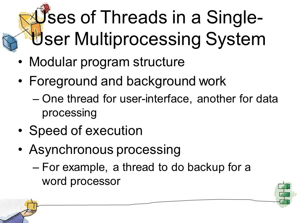 Uses of Threads in a Single- User Multiprocessing System Modular program structure Foreground and background work –One thread for user-interface, another for data processing Speed of execution Asynchronous processing –For example, a thread to do backup for a word processor