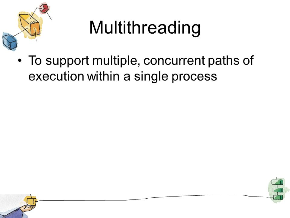 Multithreading MS-DOS supports a single user process and thread Some variants of UNIX support multiple user processes but only one thread per process Java run-time environment is a single process with multiple threads Windows, Solaris, and other modern versions of Unix support multiple processes and multiple threads per process