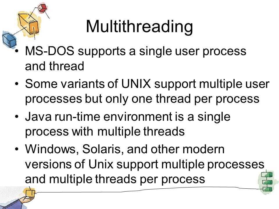 Threads Suspending a process involves suspending all threads of the process since all threads share the same address space Termination of a process, terminates all threads within the process
