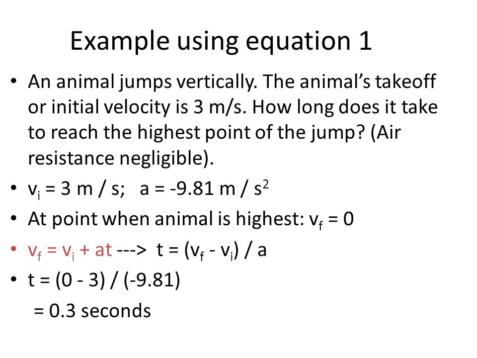 Example using equation 2 What was the net jump height of the animal in example #1.