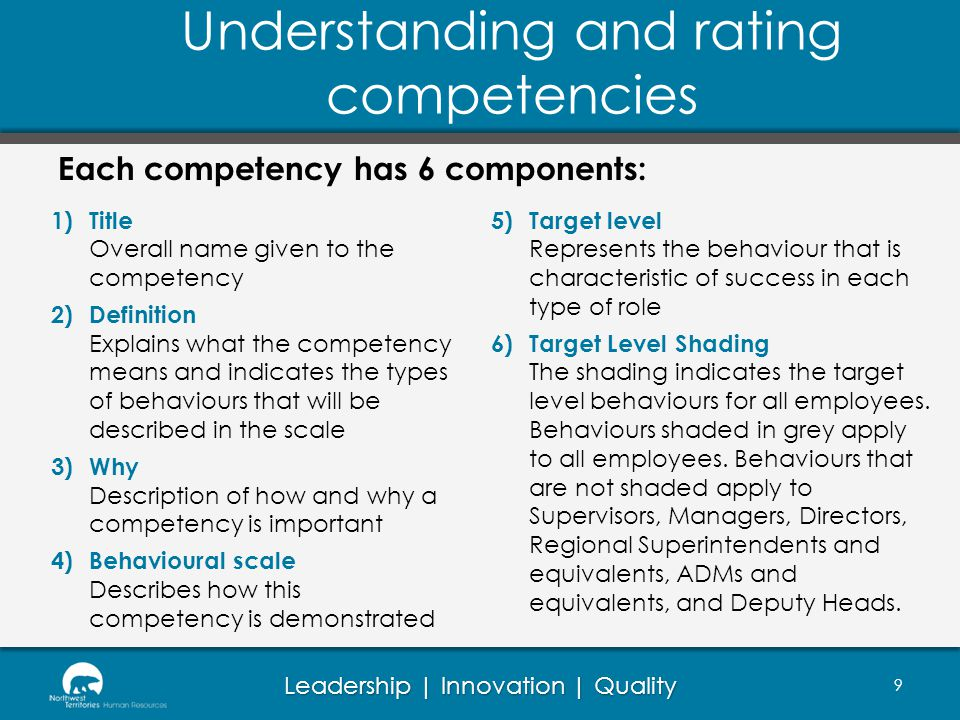 Leadership | Innovation | Quality Behavioural scales: Define what the competency is all about Ascending scale of various levels of performance Each level is noticeably different from the one before Levels are cumulative Each level requires higher levels of performance, greater impact or time horizon Researched to show link to superior performance Understanding and rating competencies 10