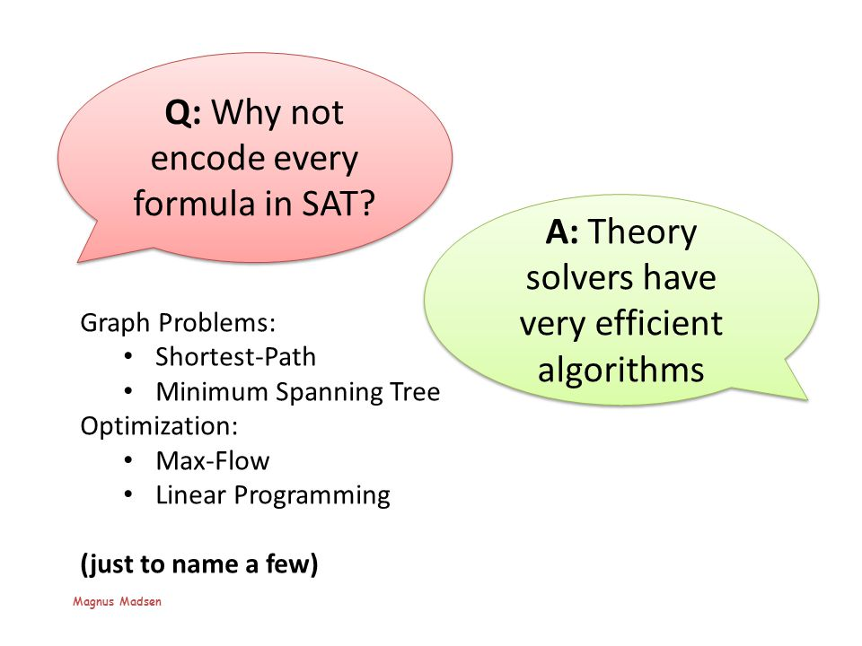 Q: But then, Why not get rid of the SAT solver.
