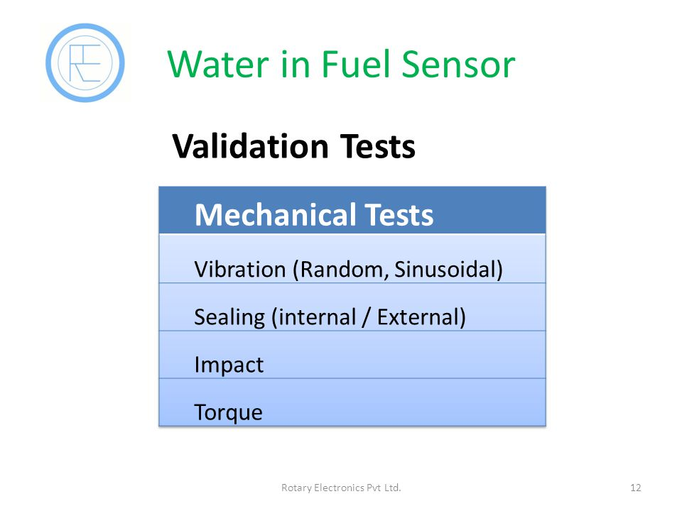 Water in Fuel Sensor 12Rotary Electronics Pvt Ltd. Validation Tests