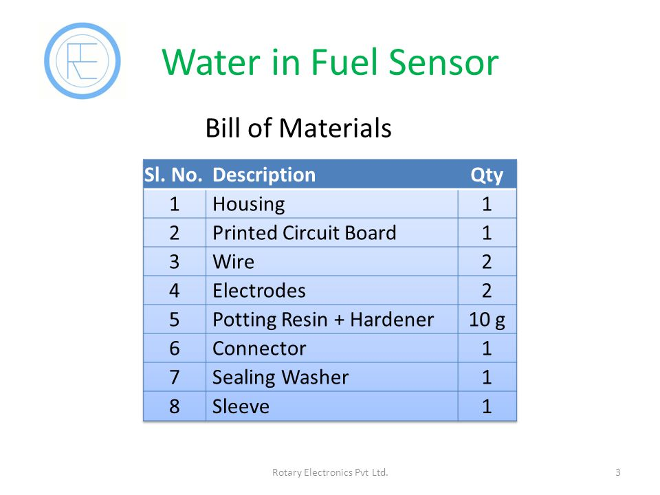 Water in Fuel Sensor 3Rotary Electronics Pvt Ltd. Bill of Materials