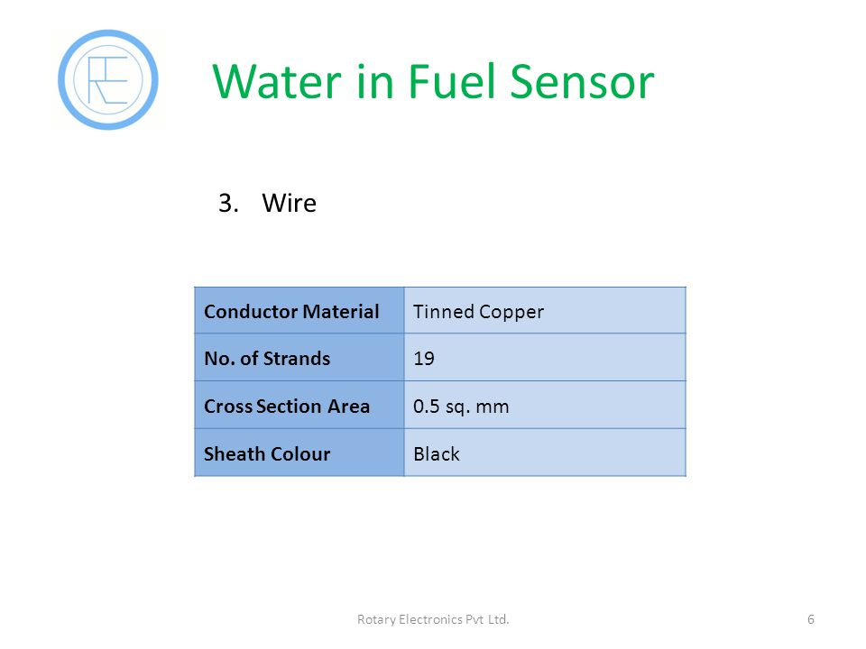 Water in Fuel Sensor 6Rotary Electronics Pvt Ltd.3.Wire Conductor MaterialTinned Copper No.