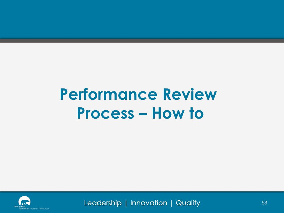Leadership | Innovation | Quality 53 Performance Review Process – How to