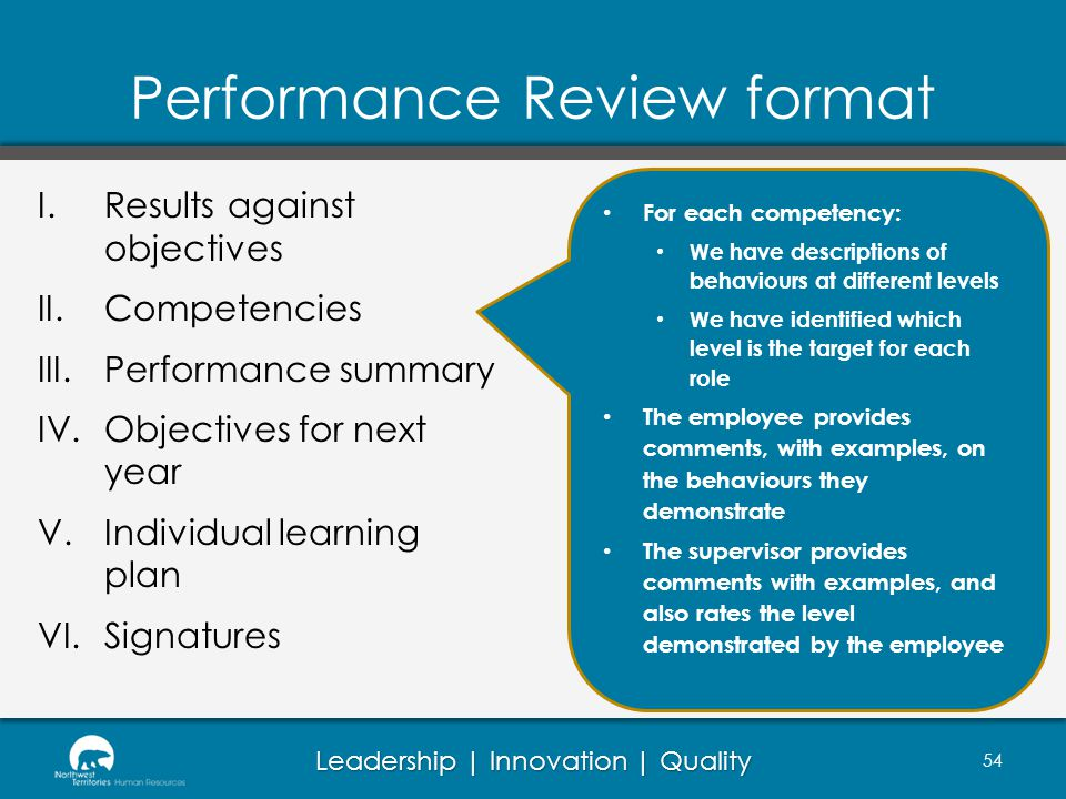 Leadership | Innovation | Quality Performance Review format 54 I.Results against objectives II.Competencies III.Performance summary IV.Objectives for