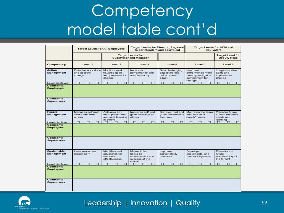 Leadership | Innovation | Quality Competency model table contd 59