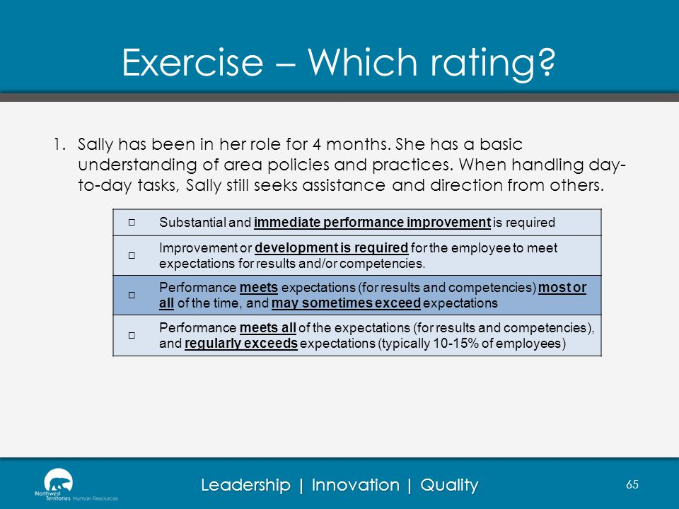 Leadership | Innovation | Quality Exercise – Which rating.