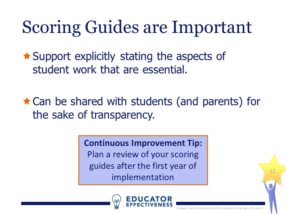 Massachusetts Department of Elementary & Secondary Education 12 Scoring Guides are Important Support explicitly stating the aspects of student work th
