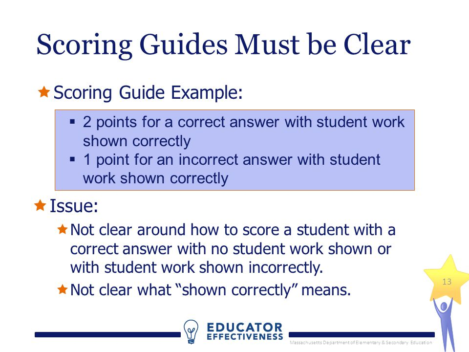 Massachusetts Department of Elementary & Secondary Education 13 Scoring Guides Must be Clear Scoring Guide Example: 2 points for a correct answer with student work shown correctly 1 point for an incorrect answer with student work shown correctly Issue: Not clear around how to score a student with a correct answer with no student work shown or with student work shown incorrectly.