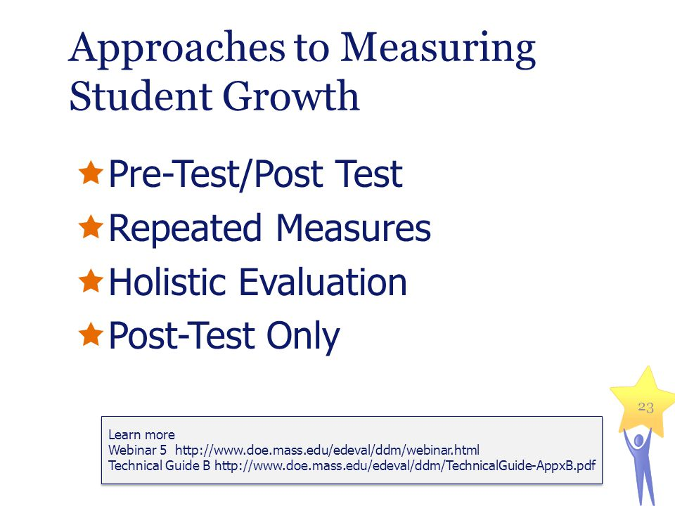 Approaches to Measuring Student Growth Pre-Test/Post Test Repeated Measures Holistic Evaluation Post-Test Only 23 Learn more Webinar 5 http://www.doe.mass.edu/edeval/ddm/webinar.html Technical Guide B http://www.doe.mass.edu/edeval/ddm/TechnicalGuide-AppxB.pdf Learn more Webinar 5 http://www.doe.mass.edu/edeval/ddm/webinar.html Technical Guide B http://www.doe.mass.edu/edeval/ddm/TechnicalGuide-AppxB.pdf