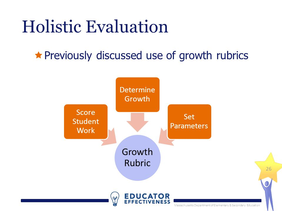 Massachusetts Department of Elementary & Secondary Education 26 Holistic Evaluation Previously discussed use of growth rubrics Growth Rubric Score Student Work Determine Growth Set Parameters