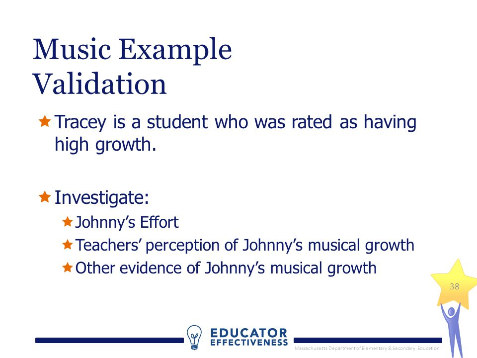 Massachusetts Department of Elementary & Secondary Education 38 Tracey is a student who was rated as having high growth. Investigate: Johnnys Effort T