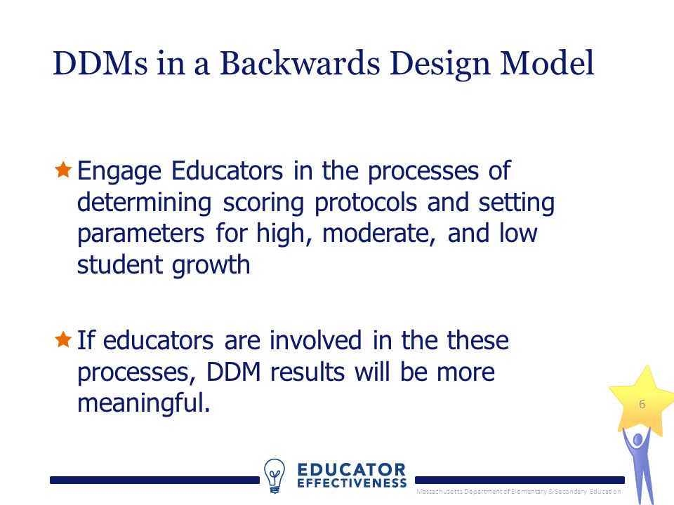 Massachusetts Department of Elementary & Secondary Education 6 DDMs in a Backwards Design Model Engage Educators in the processes of determining scoring protocols and setting parameters for high, moderate, and low student growth If educators are involved in the these processes, DDM results will be more meaningful.