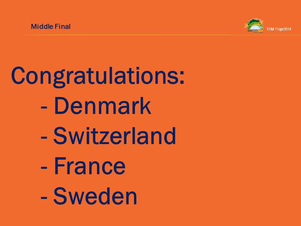 Congratulations: - Denmark - Switzerland - France - Sweden TOM 11apr2014 Middle Final