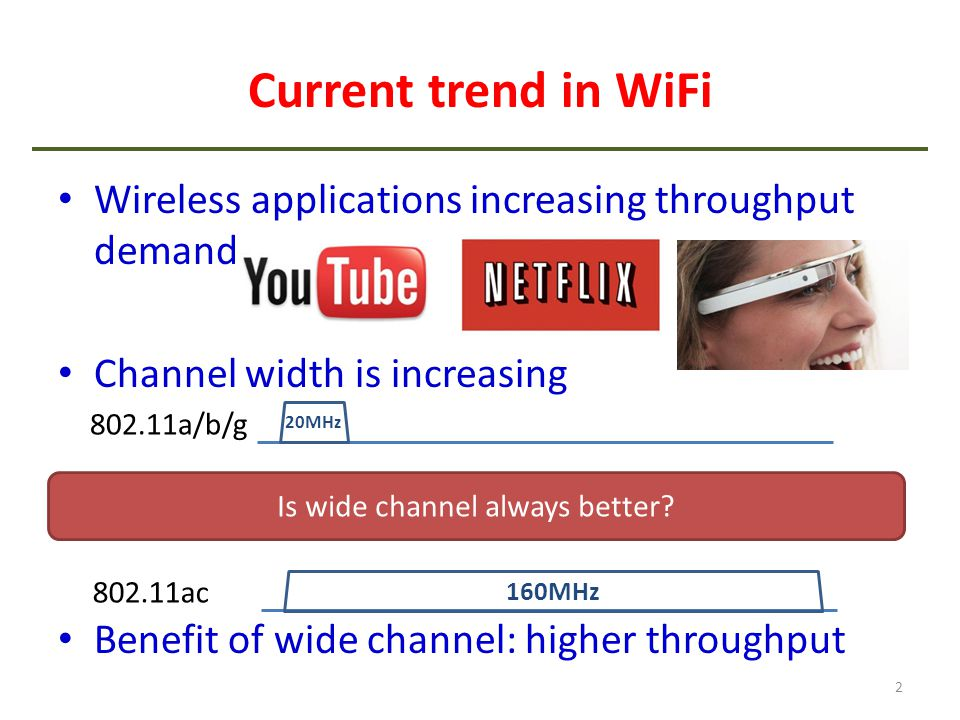 Current trend in WiFi Wireless applications increasing throughput demand Channel width is increasing Benefit of wide channel: higher throughput 2 802.