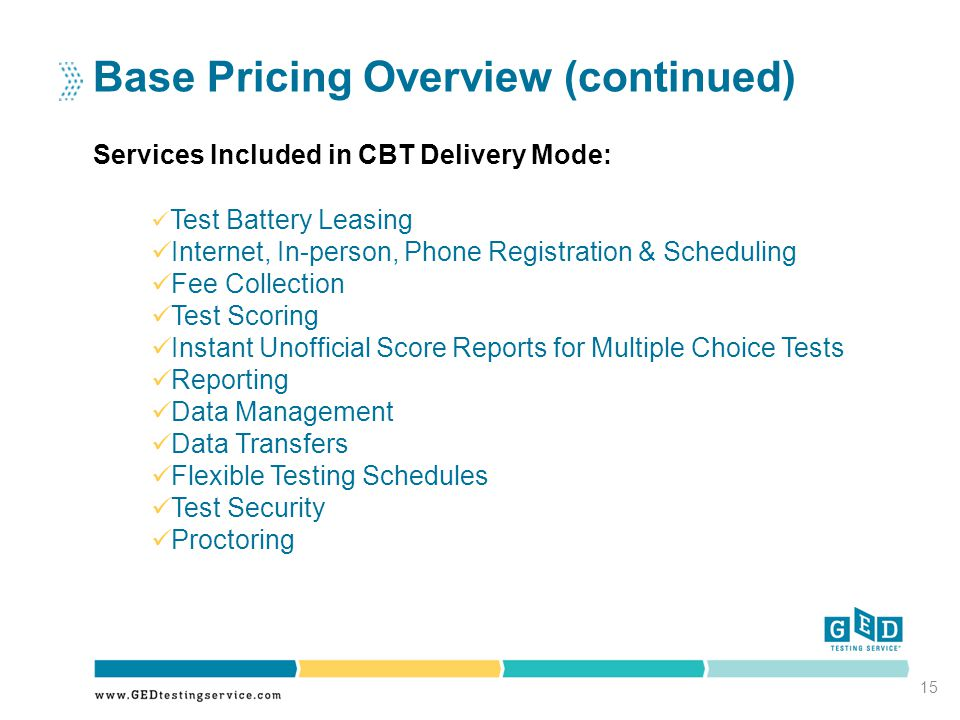 Base Pricing Overview (continued) Services Included in CBT Delivery Mode: 15 Test Battery Leasing Internet, In-person, Phone Registration & Scheduling Fee Collection Test Scoring Instant Unofficial Score Reports for Multiple Choice Tests Reporting Data Management Data Transfers Flexible Testing Schedules Test Security Proctoring
