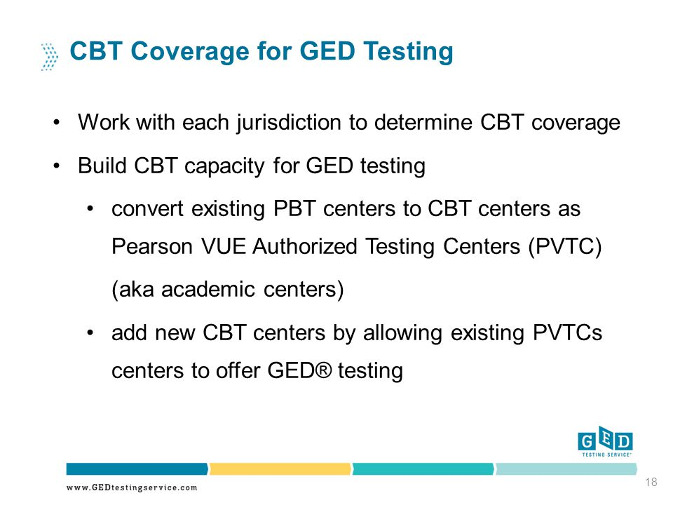 18 CBT Coverage for GED Testing Work with each jurisdiction to determine CBT coverage Build CBT capacity for GED testing convert existing PBT centers to CBT centers as Pearson VUE Authorized Testing Centers (PVTC) (aka academic centers) add new CBT centers by allowing existing PVTCs centers to offer GED® testing