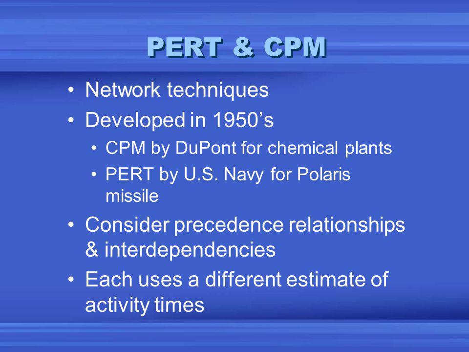 PERT & CPM Network techniques Developed in 1950s CPM by DuPont for chemical plants PERT by U.S.
