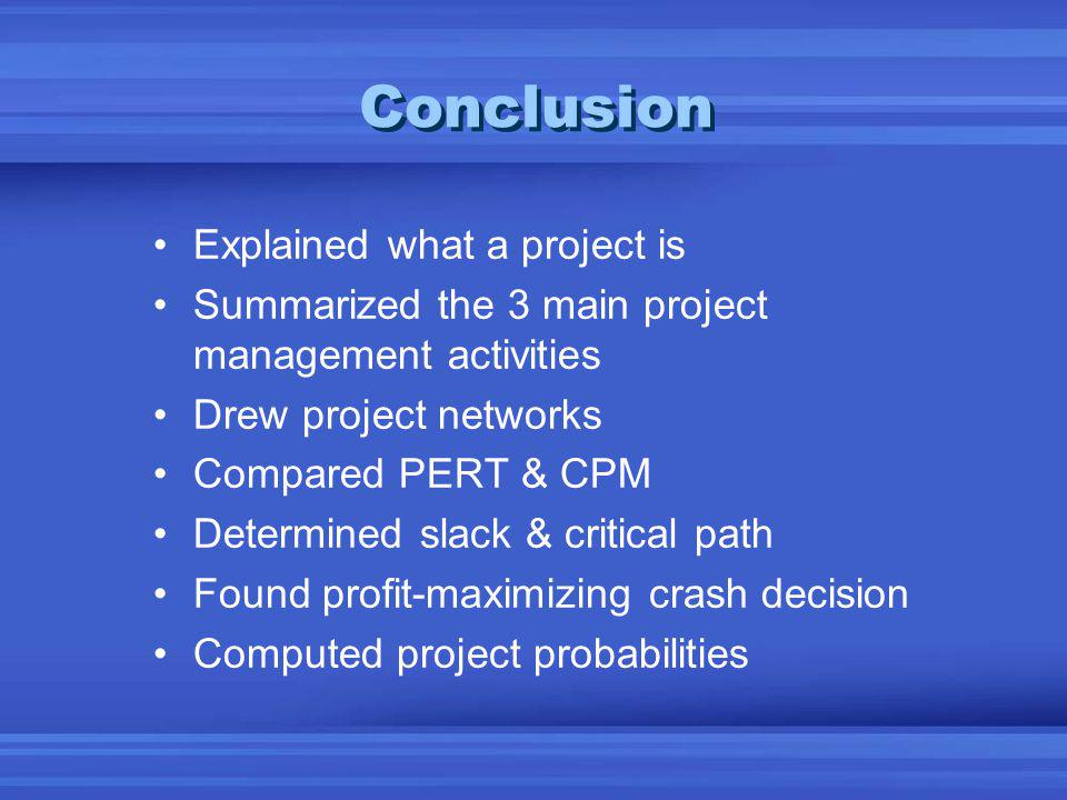 Conclusion Explained what a project is Summarized the 3 main project management activities Drew project networks Compared PERT & CPM Determined slack & critical path Found profit-maximizing crash decision Computed project probabilities