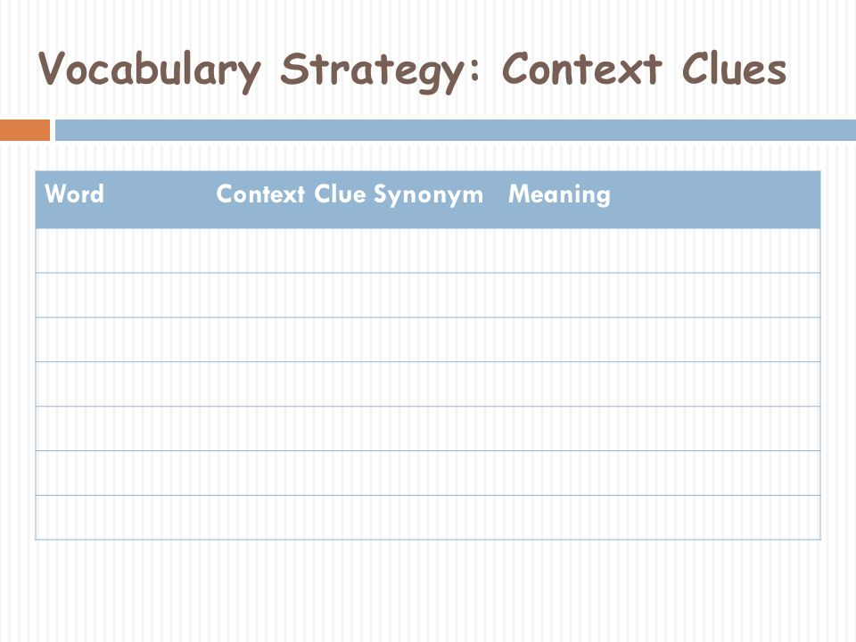 Vocabulary Strategy: Context Clues WordContext Clue SynonymMeaning