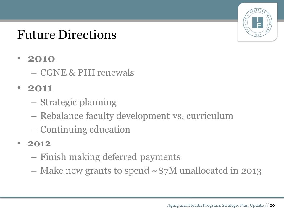 Future Directions 2010 – CGNE & PHI renewals 2011 – Strategic planning – Rebalance faculty development vs.