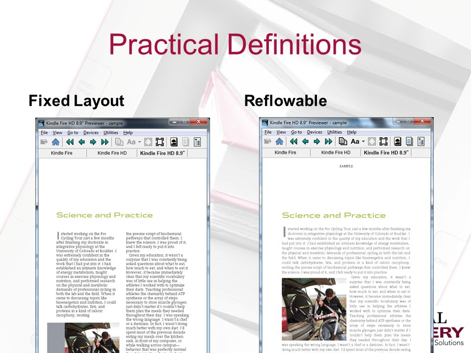 Practical Definitions Fixed LayoutReflowable