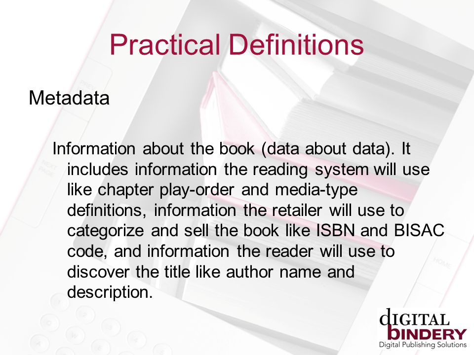 Metadata Information about the book (data about data).