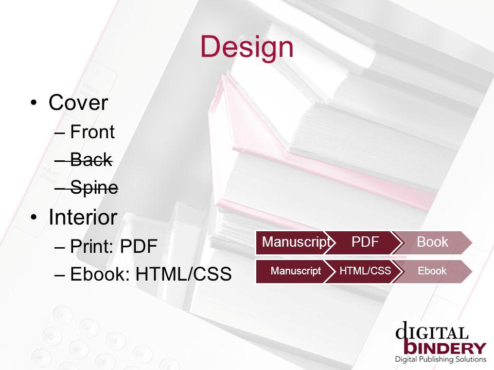 Cover –Front –Back –Spine Interior –Print: PDF –Ebook: HTML/CSS ManuscriptPDFBook ManuscriptHTML/CSSEbook