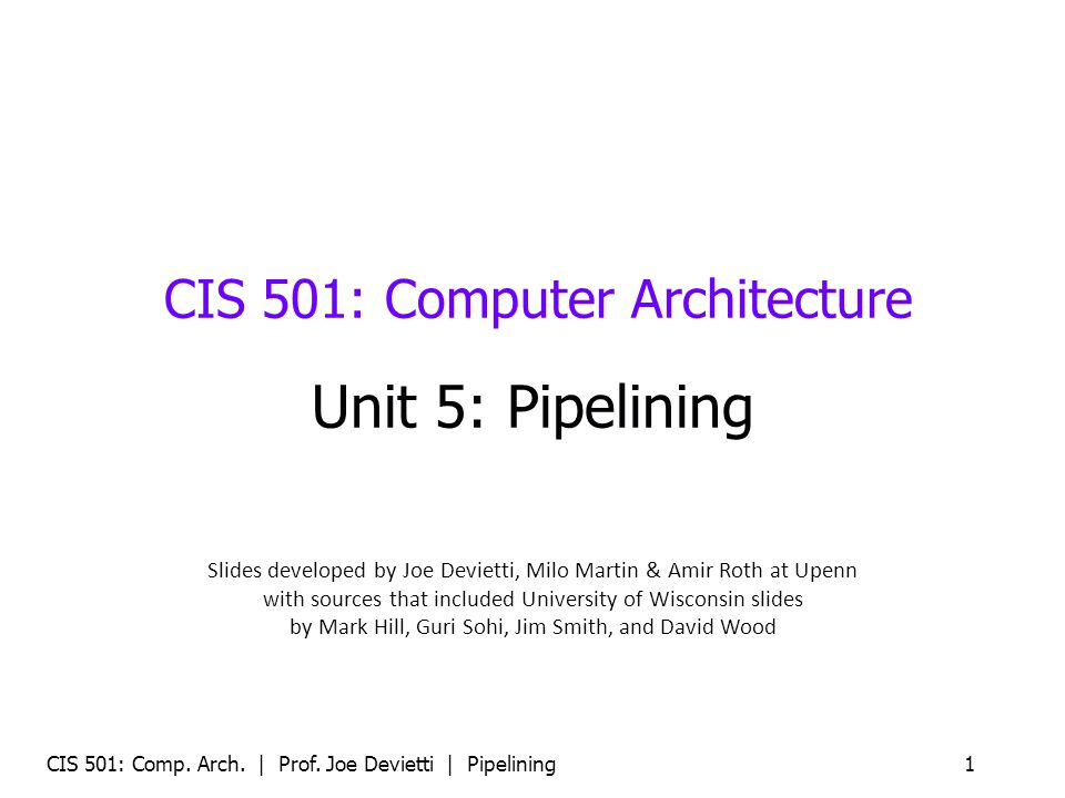 CIS 501: Comp.Arch. | Prof. Joe Devietti | Pipelining32 Example Pipeline Perf.
