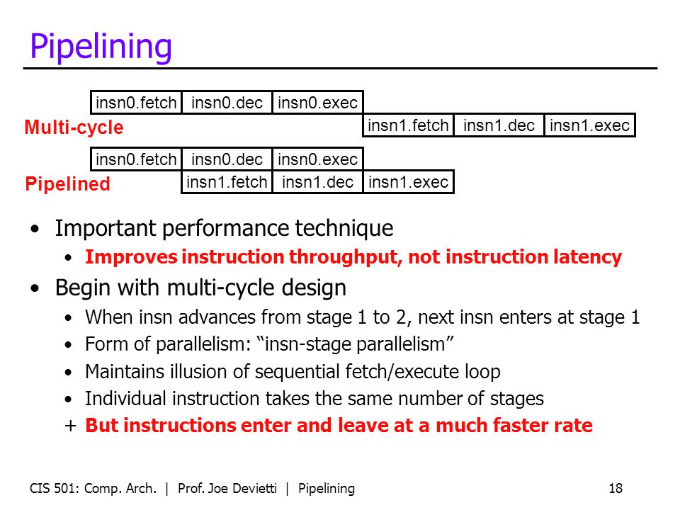 CIS 501: Comp. Arch. | Prof. Joe Devietti | Pipelining18 Pipelining Important performance technique Improves instruction throughput, not instruction l