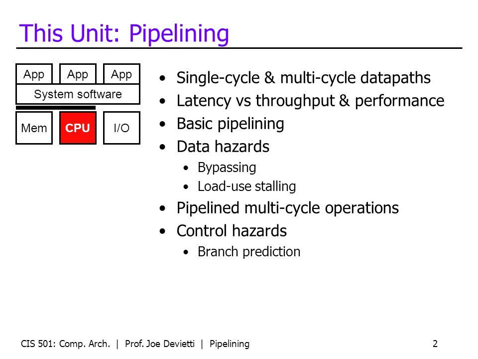 Readings Chapter 2.1 of MA:FSPTCM CIS 501: Comp. Arch. | Prof. Joe Devietti | Pipelining3