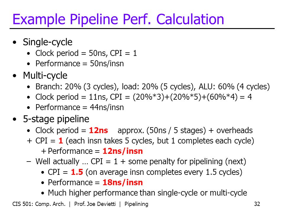 CIS 501: Comp. Arch. | Prof. Joe Devietti | Pipelining32 Example Pipeline Perf. Calculation Single-cycle Clock period = 50ns, CPI = 1 Performance = 50