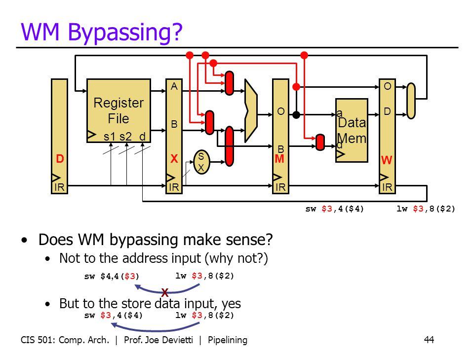 CIS 501: Comp. Arch. | Prof. Joe Devietti | Pipelining44 WM Bypassing.
