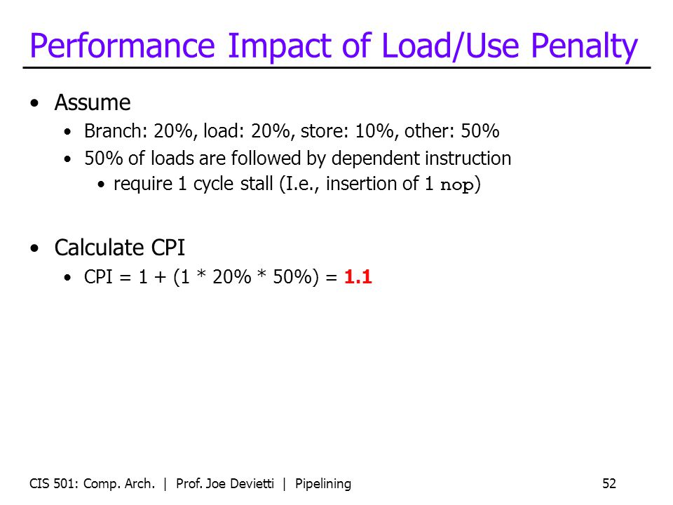 CIS 501: Comp. Arch. | Prof. Joe Devietti | Pipelining52 Performance Impact of Load/Use Penalty Assume Branch: 20%, load: 20%, store: 10%, other: 50%