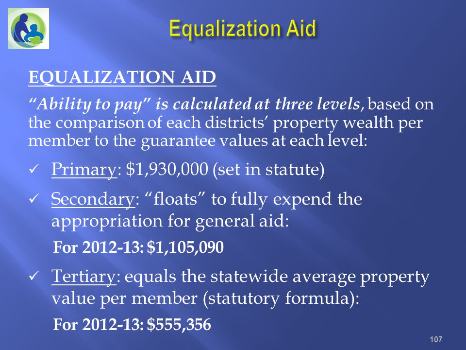 EQUALIZATION AID Ability to pay is calculated at three levels, based on the comparison of each districts property wealth per member to the guarantee v