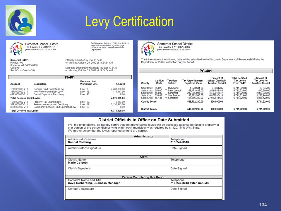 Levy Certification 134