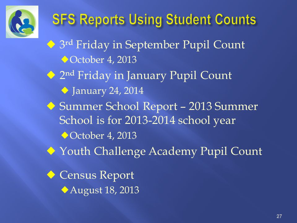 3 rd Friday in September Pupil Count October 4, 2013 2 nd Friday in January Pupil Count January 24, 2014 Summer School Report – 2013 Summer School is