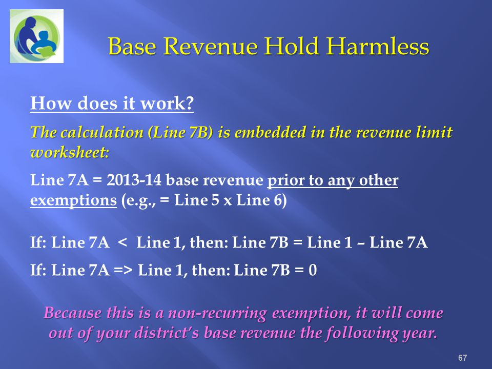 Base Revenue Hold Harmless 67 How does it work? The calculation (Line 7B) is embedded in the revenue limit worksheet: Line 7A = 2013-14 base revenue p
