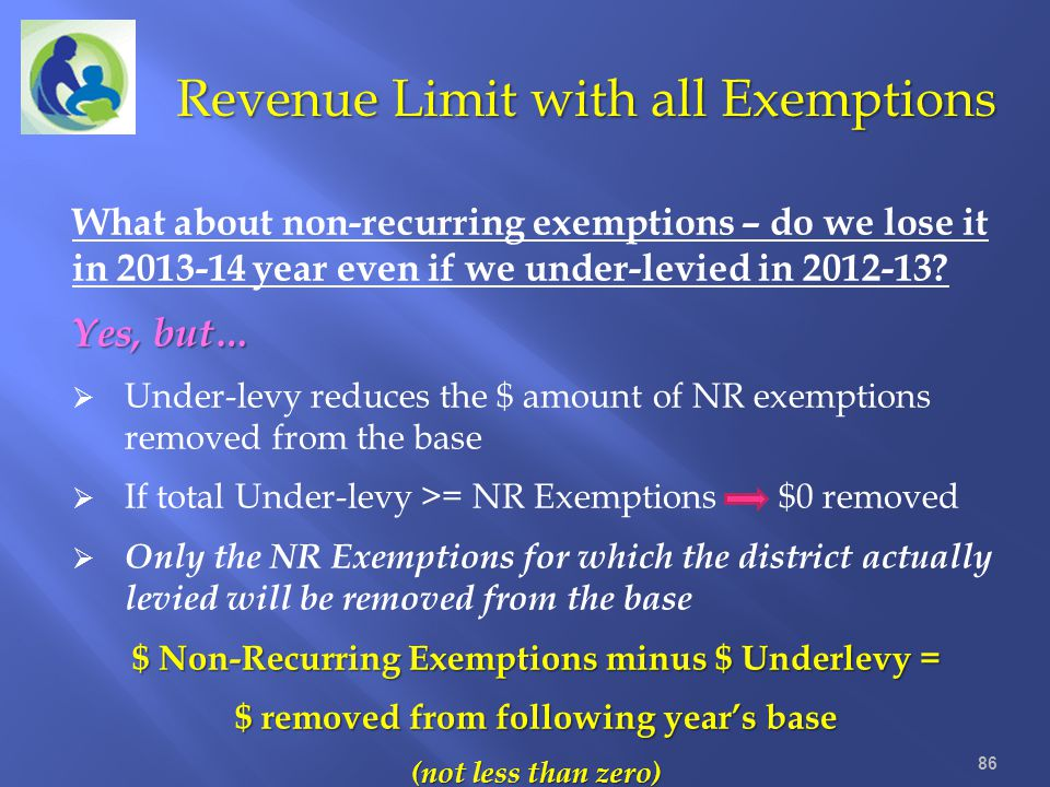 86 Revenue Limit with all Exemptions What about non-recurring exemptions – do we lose it in 2013-14 year even if we under-levied in 2012-13? Yes, but…