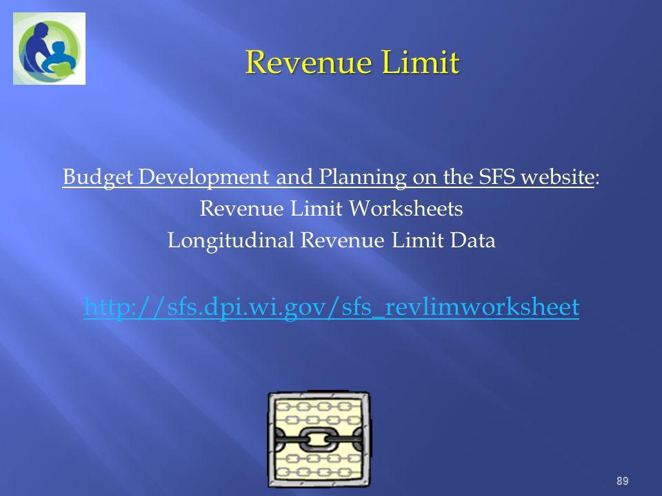 Budget Development and Planning on the SFS website: Revenue Limit Worksheets Longitudinal Revenue Limit Data http://sfs.dpi.wi.gov/sfs_revlimworksheet