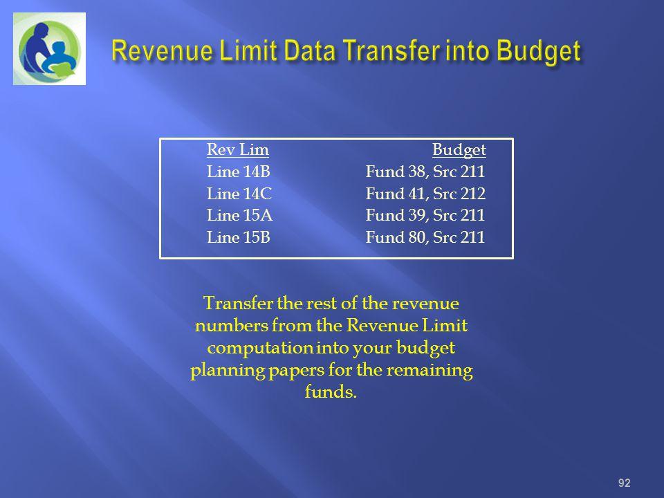 Rev Lim Budget Line 14B Fund 38, Src 211 Line 14C Fund 41, Src 212 Line 15A Fund 39, Src 211 Line 15B Fund 80, Src 211 92 Transfer the rest of the rev