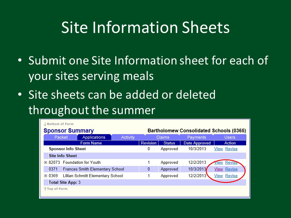 Site Information Sheets Submit one Site Information sheet for each of your sites serving meals Site sheets can be added or deleted throughout the summ