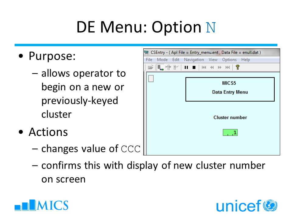 DE Menu: Option N Purpose: –allows operator to begin on a new or previously-keyed cluster Actions –changes value of CCC –confirms this with display of new cluster number on screen