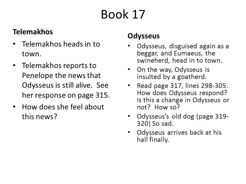 Book 17 Telemakhos Telemakhos heads in to town.